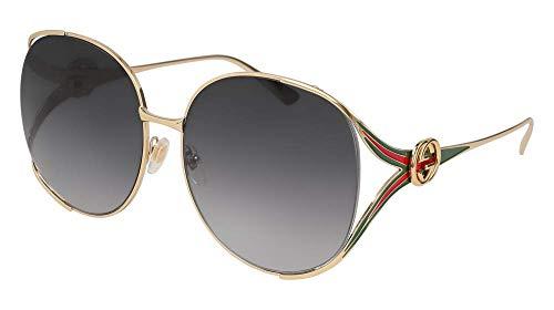 Gucci Damen GG0225S 001 Sonnenbrille, Gold (1/Grey), 63