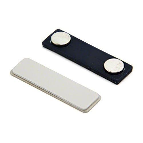 first4magnetsTM Nom Badge magnétique avec Autocollant et arrière en Plastique, Argent, 45 x 45 x 13 mm