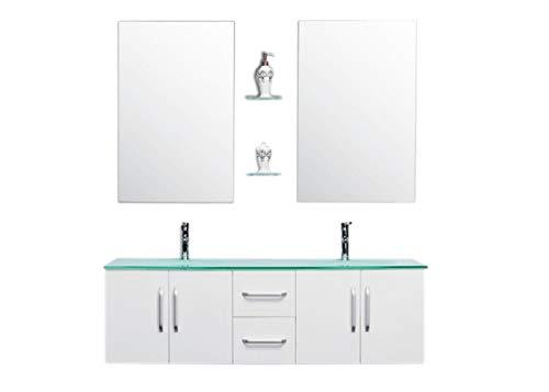 Grafica ma.ro srl mobile bagno arredo bagno completo modello white ice 150 cm doppio lavabo rubinetti inclusi