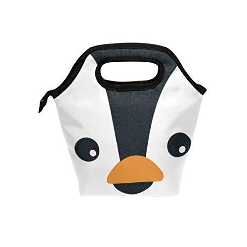 Vipsa Lunchtasche Pinguin Gesicht Lunchbox Wasserdicht Outdoor Reise Picknick Tragetasche Lunch Handtaschen Tragetasche mit Reißverschluss für Männer Frauen Student - Pinguin Lunch-box