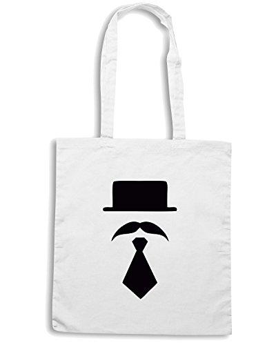 T-Shirtshock - Borsa Shopping TR0031 Bowler Hat Moustache vintage Indie Geek Short Tie Bianco