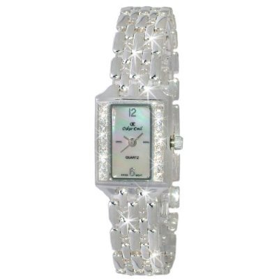 Oskar Emil Pluto Sterling Silver Mother Of Pearl Dial With Crystals Ladies Dress Watch