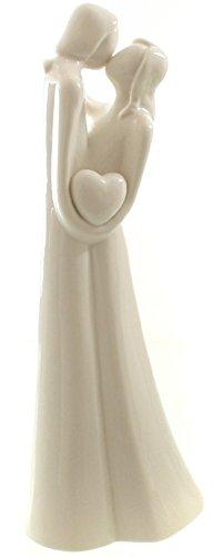 DIO exklusive Porzellanfigur, Dekofigur Liebespaar, weiß glasiert, 11x7x27,5 cm