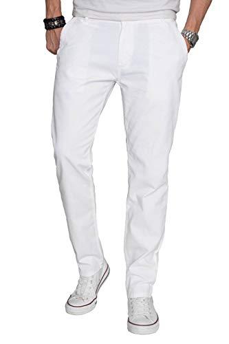 A. Salvarini Herren Designer Chino Stoff Hose Chinohose Regular Fit AS016 AS-016-Weiss-W30-L34