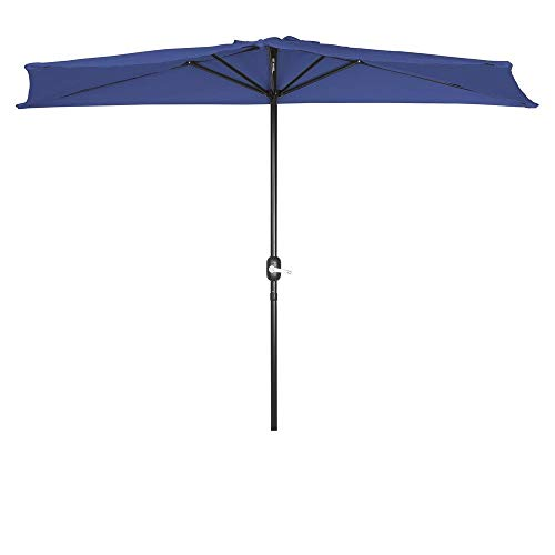 Trademark Innovations PATUMB BU Patio Half Umbrella-9', Blue - 9' Market Umbrella Base