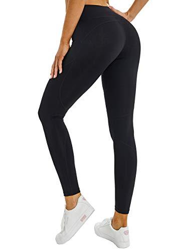 YAWHO Damen Sports Leggings Fitness Hosen Yogahosen Jogginghose mit Elastische Bauch Kontrolle/Hohe Taille Sporthosen Super für Fitness Laufen Yoga Workout (Black, M)
