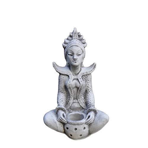 gartendekoparadies.de Massive Steinfigur Sarasvati Hinduistische Göttin Buddha Steinguss frostfest