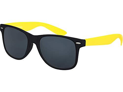 Balinco Hochwertige Nerd Sonnenbrille Rubber im Retro Stil Vintage Unisex Brille mit Federscharnier - 96 verschiedene Farben/Modelle wählbar (Gelb/Schwarz - Smoke)