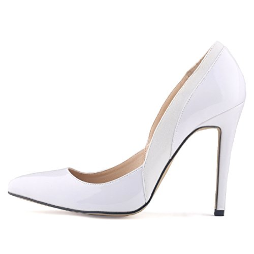 HooH Femmes Daim Splicing Pointu Stiletto Escarpins Blanc