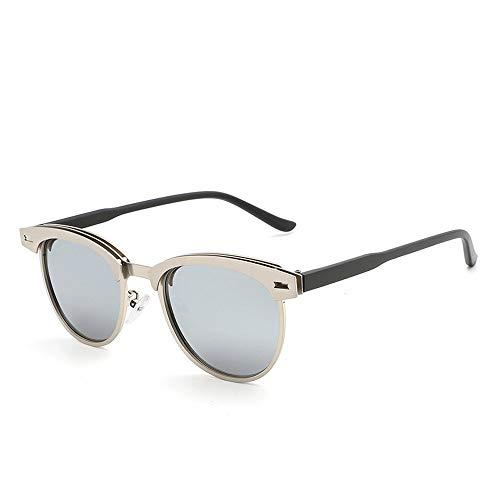 Yiph-Sunglass Sonnenbrillen Mode Mode Halbrand Metall polarisierte Sonnenbrille Männer Classic Driving Sonnenbrille (Color : Silber, Size : Kostenlos)