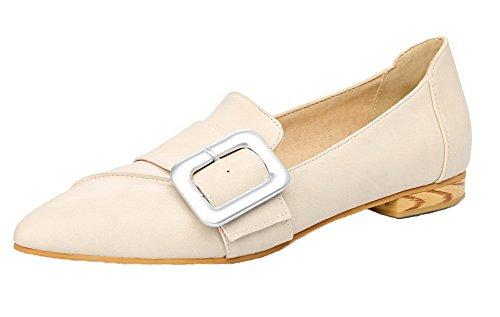 AgooLar Damen Weiches Material Schließen Zehe Niedriger Absatz Rein Pumps Schuhe, Cremefarben, 42