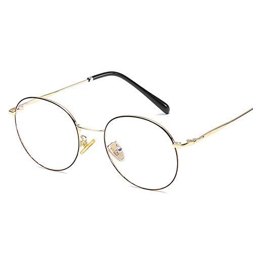 Easy Go Shopping Literarische runde Rahmen Temperament Student Männer Frauen Brillengestell Retro Plain Gläser Sonnenbrillen und Flacher Spiegel (Color : 01Gold, Size : Kostenlos)
