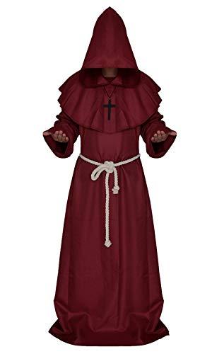 Robe Der Priester Rote Kostüm - YQIAN Herren Damen Halloween Vintage Kostüm, mittelalterliche Priester Robe, Party Karneval Geheimnis Mantel, Renaissance Zauberer Mönch Kostüm, Rot, S