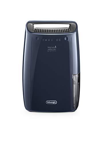 De'Longhi DEX216F - Deshumidificador multifunción 16L/D, filtros anti polvo y anti alérgenos, certificado para asmáticos, función de secado de ropa y drenaje continuo, color azul marino