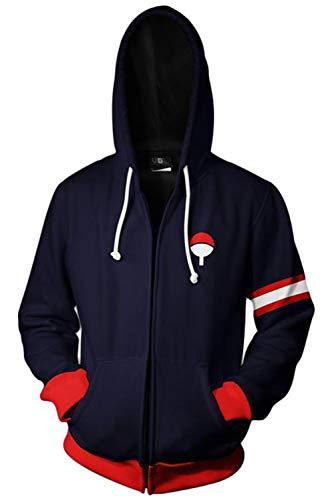 Uchiha Sasuke Naruto Sweatshirt Anime Unisex Reißverschluss Lange Ärmel Kapuzenpullover Jacke Schwarz Cosplay Kostüm Schwarz - Naruto Sasuke Uchiha Cosplay Kostüm