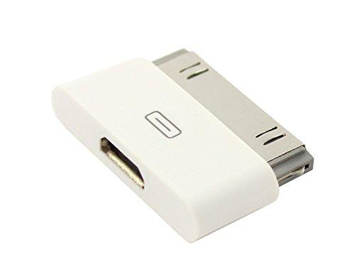 iPrime® Premium Micro USB Adapter für Apple iPhone 4, 4S, 3, 3G, 3GS / iPod Touch / iPad 1, 2, 3 - Datentransfer und Aufladung - Weiß
