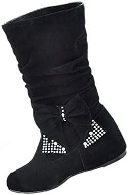 SODIAL(R) Botas sueltos de lazo planas medias altas de moda de mujeres Negro 39