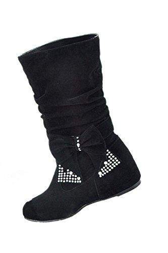 femme bottes - SODIAL(R)femme plier rhinestone arc bottes noir 35
