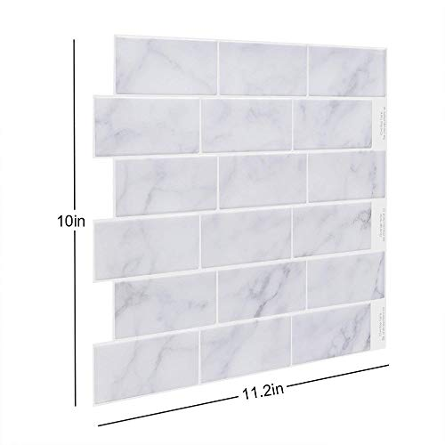 Stycars® Wall Sticker, Silvery Subway Back splash Tile peel and stick Self Adhesive DIY Kitchen Bathroom Vinyl- 1 Sheet [Size:11.25 * 10inch]