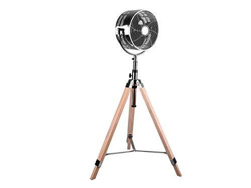 Ventilador de pie con trípode, aspecto retro, cromado, con trípode de madera, 3 niveles, oscilante...