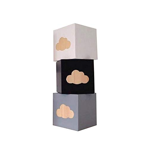 YSoutstripdu 3 Stück/Set Wolkenbär Libelle Holzblock Ornamente Home Decor Baby Foto Requisiten Decor, Holz, 1#
