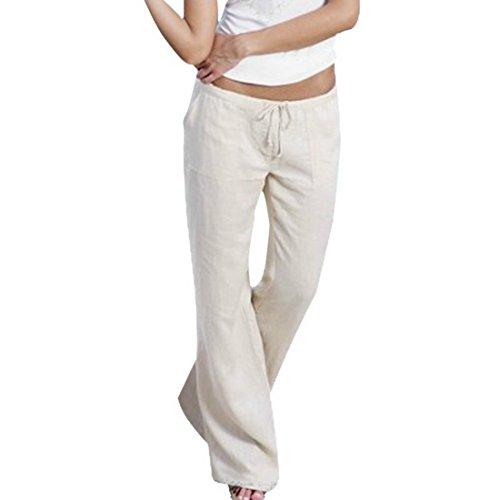Vertvie Femme Pantalon Décontracté avec Poche Effet Amincissant Confortable Blanc