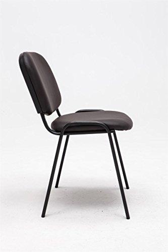 CLP Besucherstuhl KEN mit hochwertiger Polsterung und Kunstlederbezug | Stapelstuhl mit robustem Metallgestell und gepolsterter Rückenlehne | Maximale Belastbarkeit: 120 kg Braun - 2