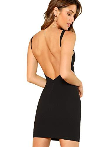 SOLY HUX Damen Spaghetti-träger Rückenfrei Figurbetont Kleid Ärmlos mit Reißverschluss Schwarz M (Kleid Sexy Reißverschluss)