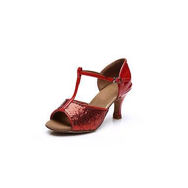 Ruhe @ Damen Sandalen Dance Shoes Latin Dance Schuhe Hochferse Gold Silber Rot anpassbare Rot