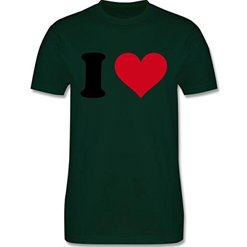 I love - I Love Motiv - Herren Premium T-Shirt Dunkelgrün