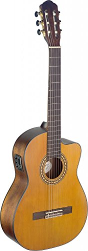 Stagg SIL-CE M Silvera Solid Spruce Top Semi-Acoustic guitarra clásica con Cutaway