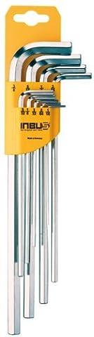 Jeu de clés Allen INBUS® 70372 en pouces extra long 9 pièces 0.05-5/16