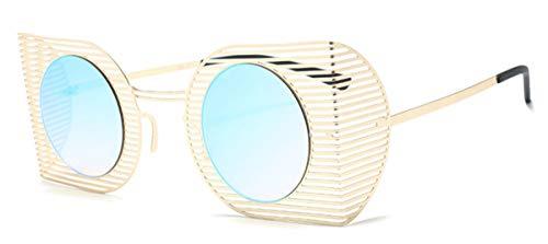 KOMNY Ultraleicht Punk Style Frauen Goggle Sonnenbrille Mode Aushöhlen Rahmen Männer Runde Rot Getönte Objektiv Gläser UV400, B