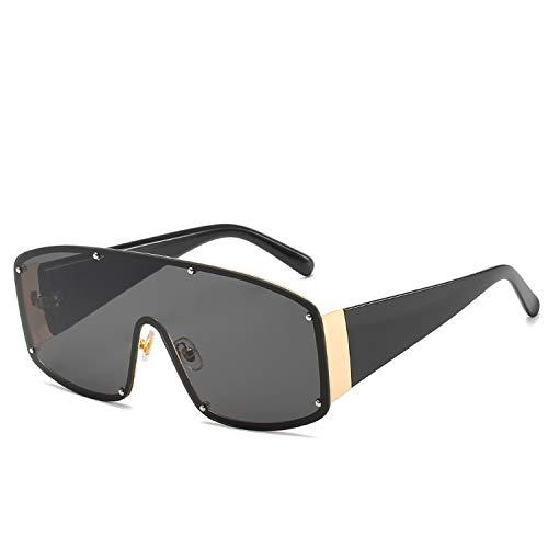 Life's A Struggle 2019 Ein Stück übergroße Sonnenbrille Niethülle Leopard Bold Rahmen Schild Sun-Glas-Aviation Brille Sunny, 1
