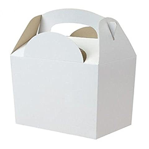 10 x WHITE Kid Childrens Plain Activity Food Loot Favour Birthday Party Bag Gift Box Wedding Toy