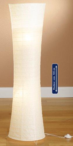 Trango Reispapier Stehleuchte Stehlampe modernem Design 125cm Hoch (weiß inkl. 2x LED LM TG1229-026L)