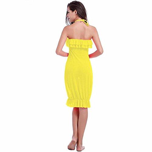 SHISHANG Damen Strandrock Europa und den Vereinigten Staaten war dünn Sommer neue Hoch elastisches Netz Garnkleid Yellow