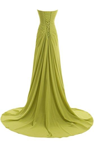 Missdressy Damen Elegant Chiffon Falte Applikation Schnuerung Traegerlos Lang Abendmode Abendkleider Partyleider Festkleider Himmelblau