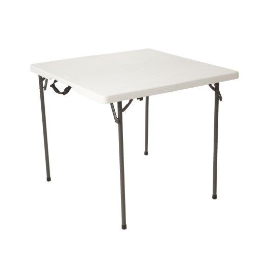 Lifetime 80273 Quadratischer Tisch, auf die Hälfte zusammenklappbar, 34 Zoll (86,4 cm), weiß -