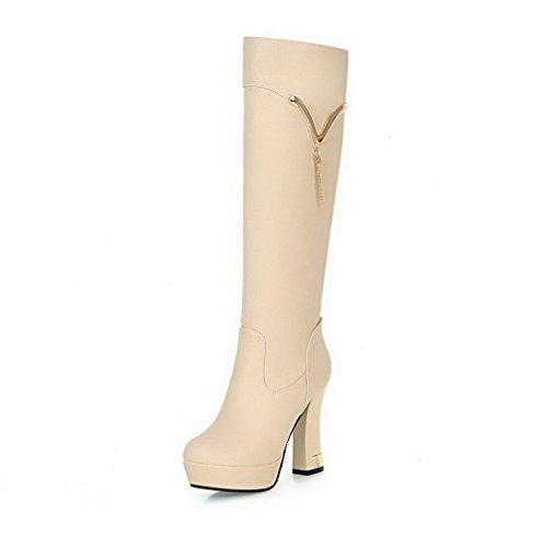 AllhqFashion Damen Weiches Rund Zehe Hoher Absatz Hoch-Spitze Stiefel, Aprikosen Farbe, 35