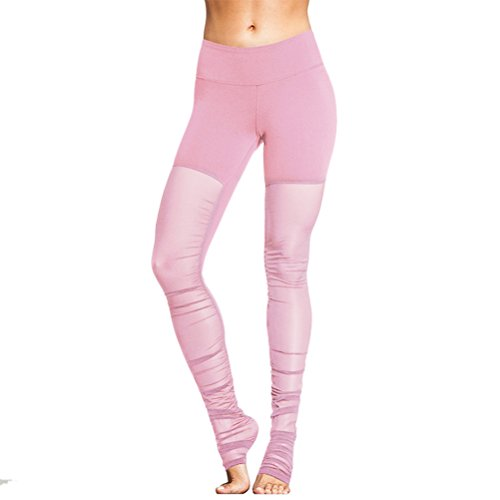Zhhlinyuan Womens Sport Fitness Stretch Training Net yarn Yoga Leggings Pants pink