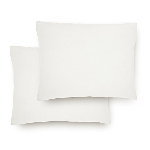 Lumaland Comfort Jersey Kissenbezug 2er Set aus 100% Baumwolle 160 g/m² mit YKK Reißverschluss 40 x 60 cm Weiß