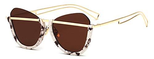 Sonnenbrille Retro Hälfte Rahmen Frauen Cat Eye Sonnenbrille Männer Klar Grün Gläser Uv 400 Braun