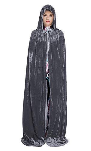 Fanient Mens Womens in voller Länge Velvet Hooded Robe Cape für Halloween Weihnachten Cosplay Kostüm - Damen Deluxe Hooded Robe Kostüm