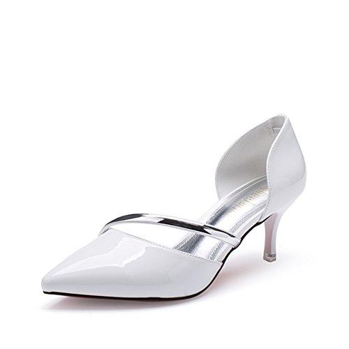 Scarpe primavera/Versione coreana delle pompe superficiale semplice/Scarpe col tacco a spillo appuntito-A Lunghezza piede=23.8CM(9.4Inch)