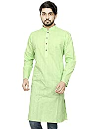 Dolphin Miles Mens Cotton Full Sleeves Stand Collar Lines Casual Traditiona Wear Beige Color Kurta