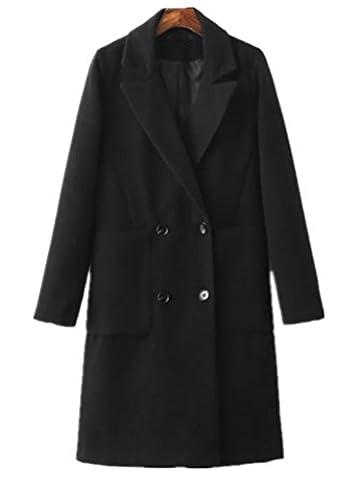 Foluton Damen Wintermantel Klassische zweireihiger Trenchcoat Lang Wollmantel Elegant Übergangsjacke Cardigan Herbst Mode V-Auschnitt Revers Blazer Parka Coat Outwear (Schwarz Belted Wollmantel)
