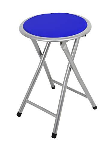 La Silla Española Palma Taburete Plegable Acolchado, Aluminio, Azul, 30x30x45 cm