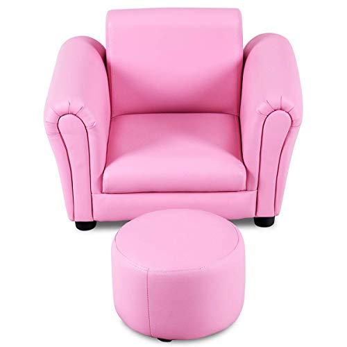 Costway divano per bambini poltrona per bimbo con poggiapiedi, due colori disponibili (rosa)