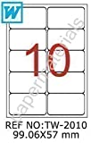 TANEX TW-2010 pacchetto di etichette indirizzo bianche arrotondate 99,06 x 57 mm (10 fogli A4)